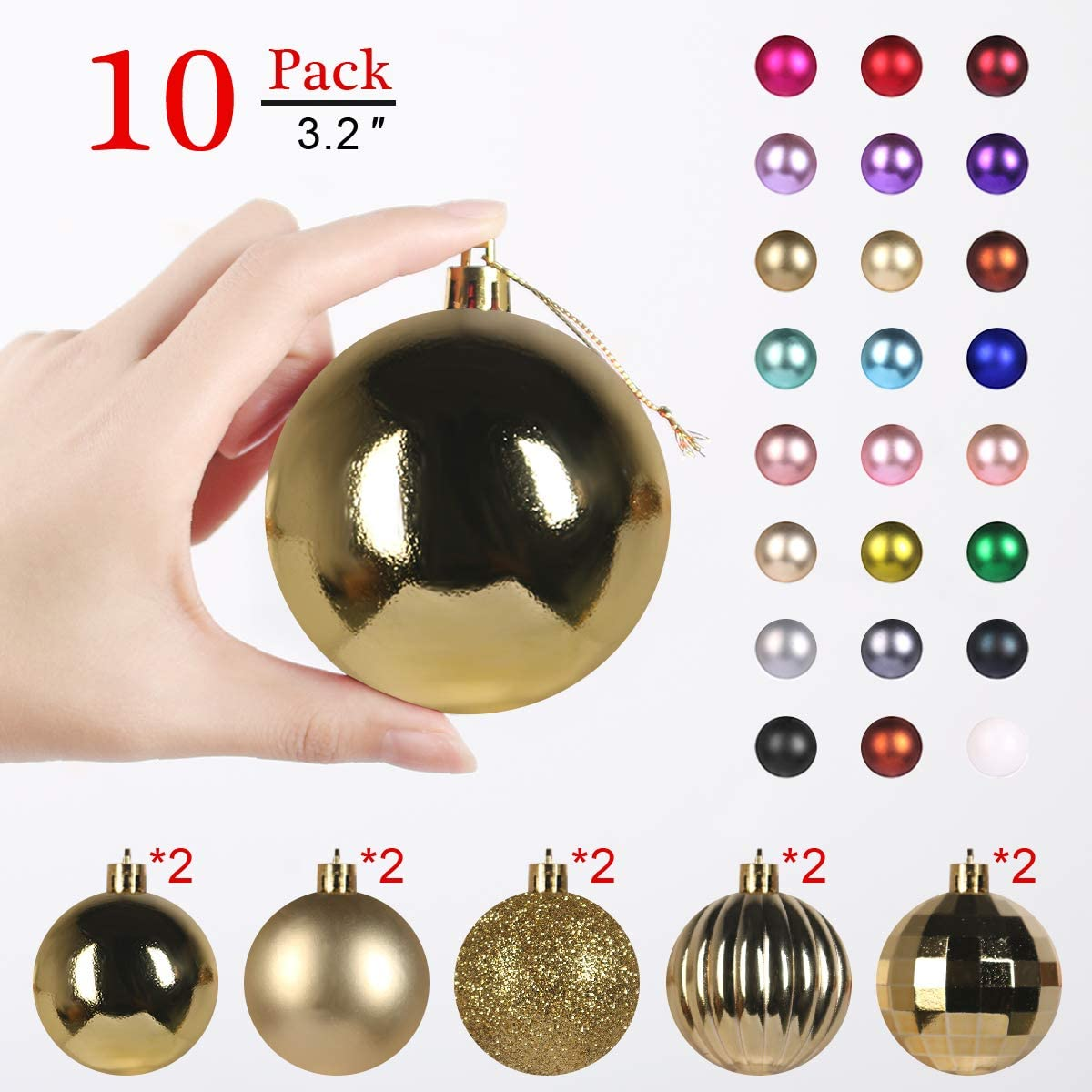GameXcel Christmas Balls Ornaments for Xmas Tree - Shatterproof Christmas Tree Decorations Large Hanging Ball Gold3.2 x 10 Pack