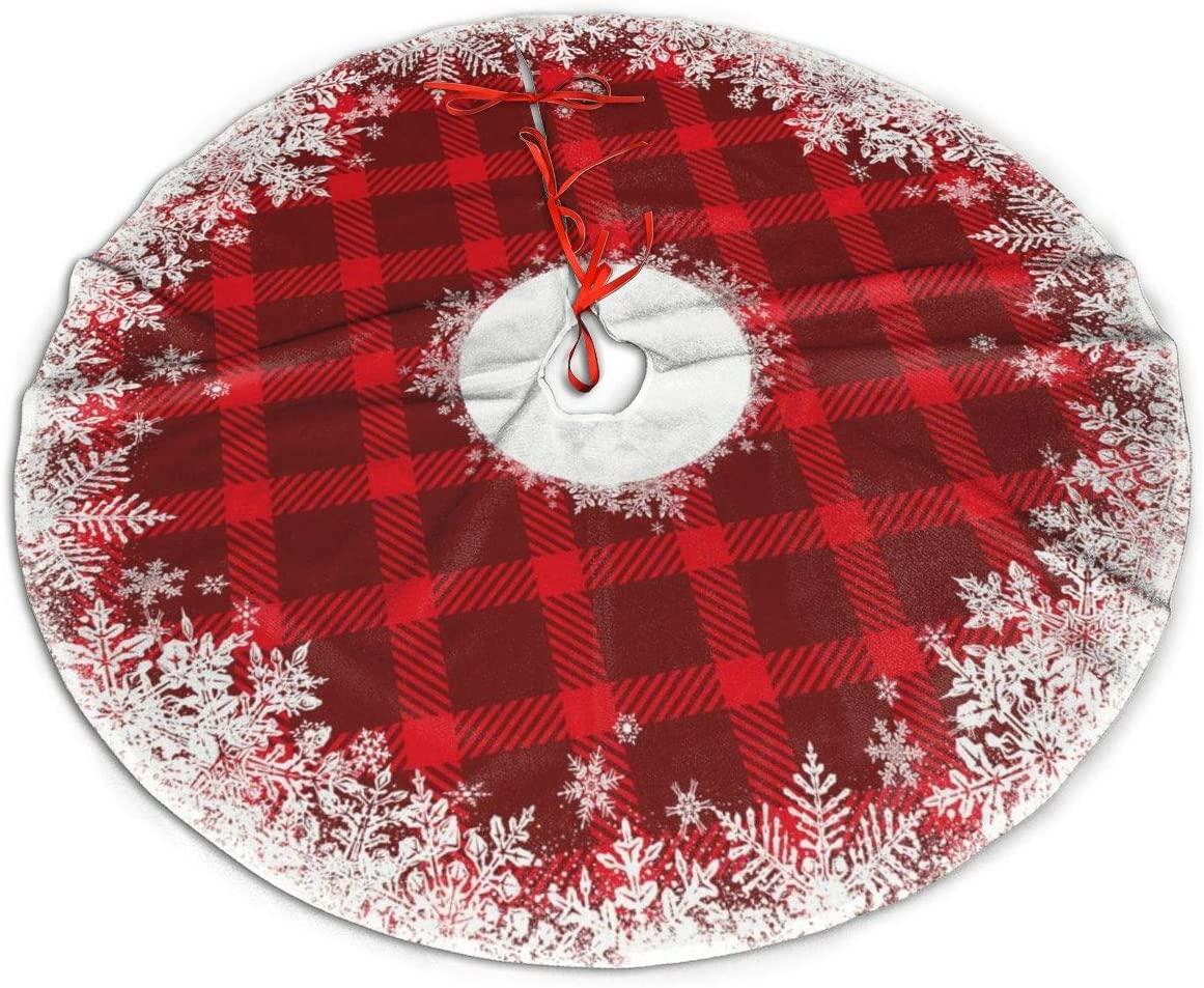 UKURO Classical Ruffle Xmas Tree Skirts Round Rustic Tartan Plaid Snowflake Plush Mat for Xmas New Year Holiday Ornaments Gift
