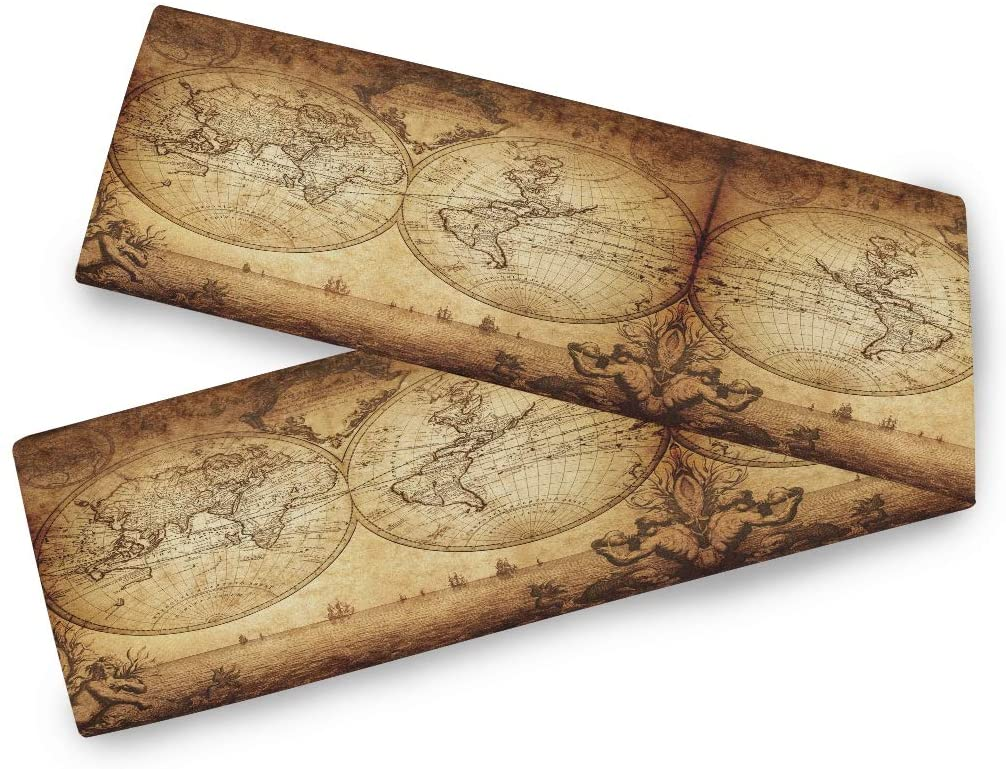 Oarencol Vintage World Map Retro Old Table Runner 13x90 inch Double Sided, Polyester Long Table Runner Dresser Cover Runner for Wedding Kitchen Party Holiday Dining Home Everyday Rustic Decor