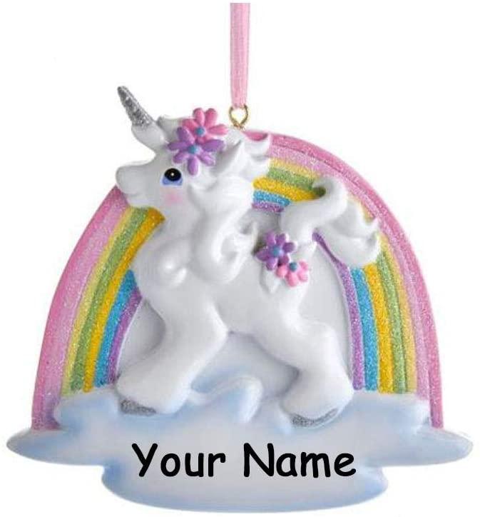 Kurt Adler Personalized Unicorn Christmas Ornament - Glitter Rainbow with Flowers Christmas Tree Decor- Free Custom Name
