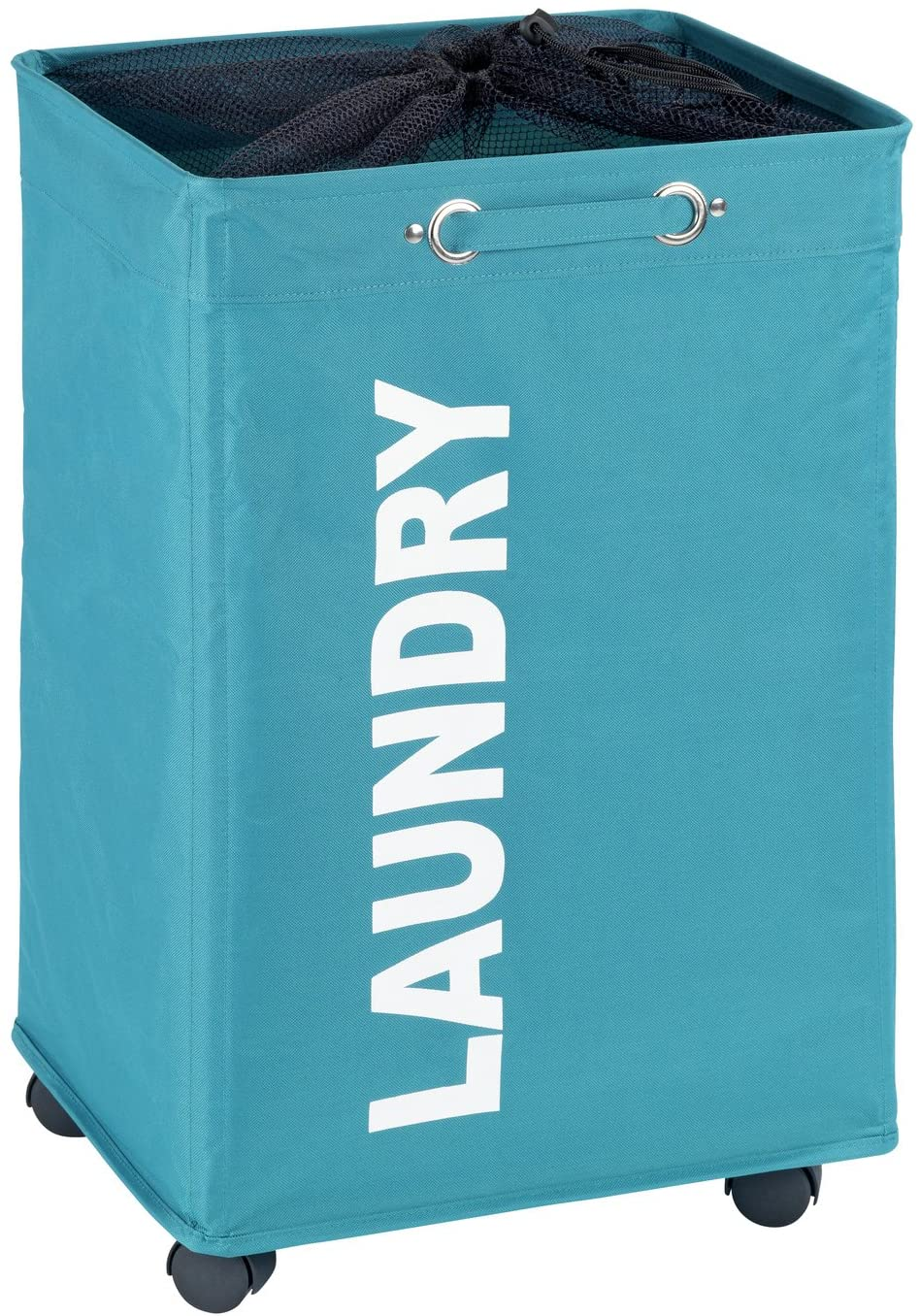 WENKO Quadro Basket with Wheels, Sorter, with Lid, Storage, Hamper, Laundry Bin, Slim, Petrol, 15.7 x 23.6 x 13.0 inch, Blue