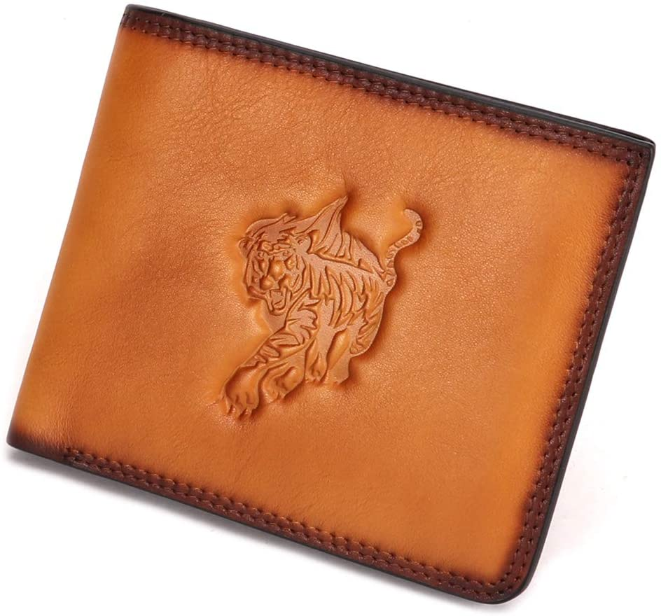 Genuine Leather Minimalist Bifold Wallets Mens Vintage Front Pocket Slim Money Clip (Brown)