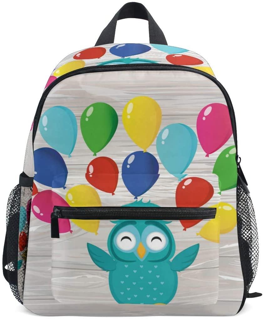 OREZI Owl With Balloons Kids Backpack,Toddler Schoolbag Preschool Bag Travel Bacpack for Little Boy Girl