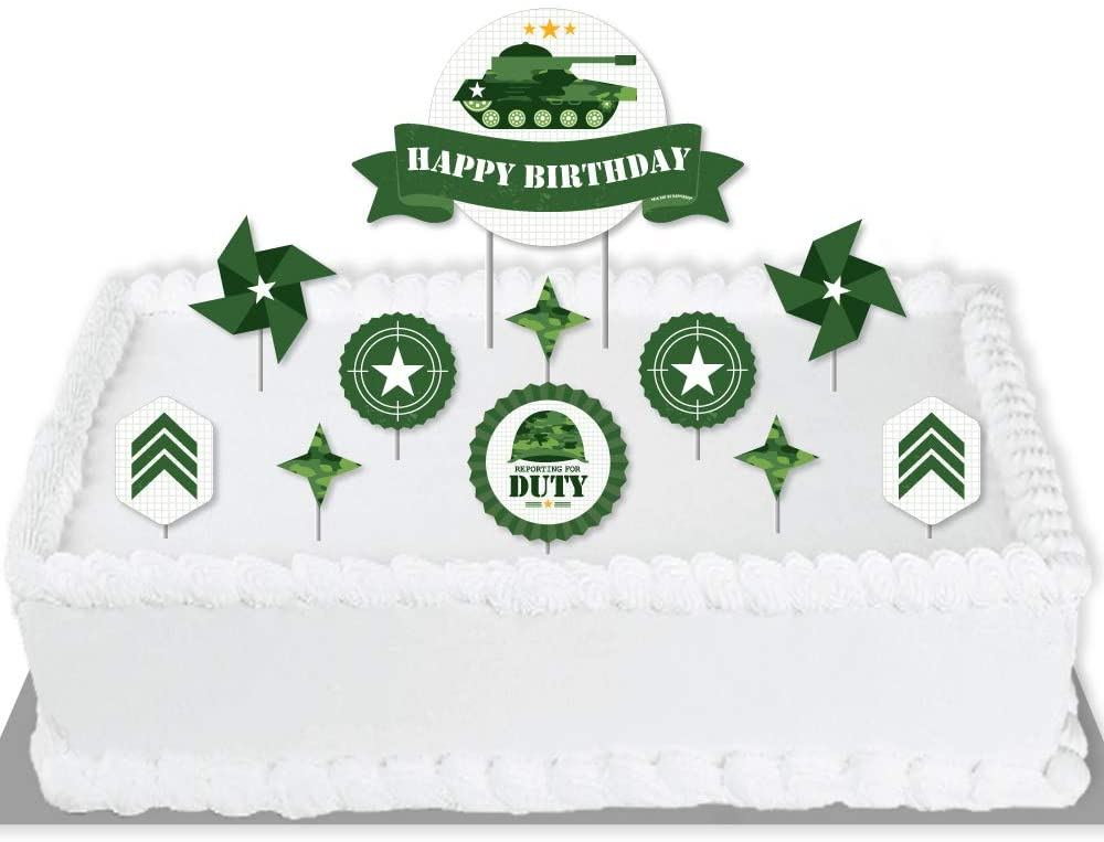 Big Dot of Happiness Camo Hero - Army Military Camouflage Birthday Party Cake Decorating Kit - Happy Birthday Cake Topper Set - 11 Pieces