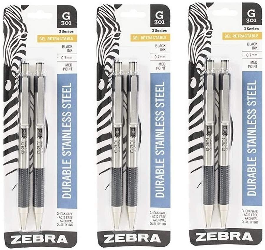 (3) Zebra Pen 41312 G-301 Stainless Steel Retractable Gel Pen, Medium Point, 0.7mm, Black Ink, 2-Count