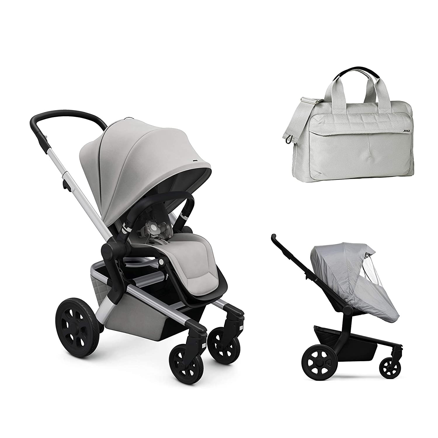Joolz Hub Stroller in Stunning Silver with Diaper Bag & Rain Cover