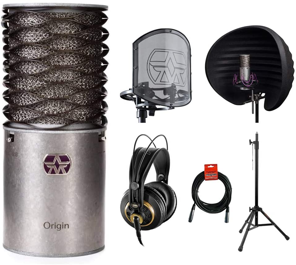 Aston Microphones Origin Cardioid Microphone with Aston Halo Reflection Filter, SwiftShield Mic Shockmount, AKG K240 Pro Headphones, Mic Stand & XLR Cable Bundle
