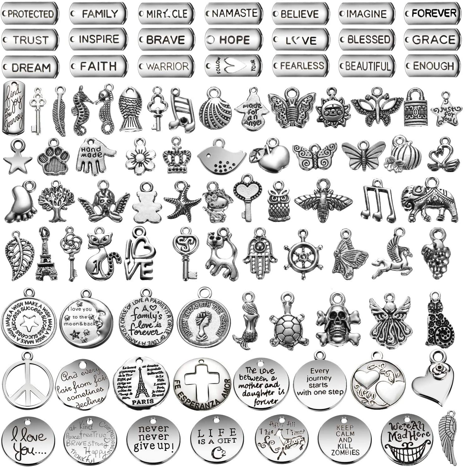 WILLBOND 100 Pieces Inspiration Words Jewelry Charms Antique Silver Craft Pendants Beads Charms Pendants for Jewelry Making Craft Pendant Supplies