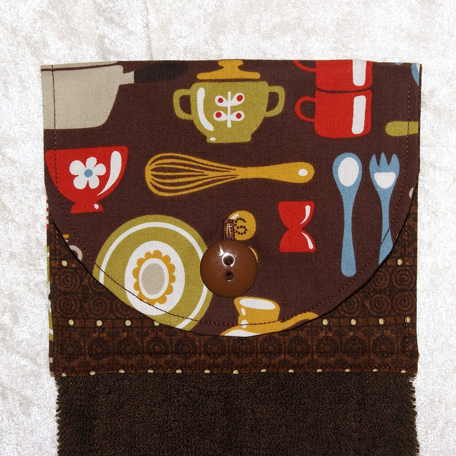 Brown Hanging Hand Towel - Tableware and Kitchen Tools Print With Plush Brown Towel