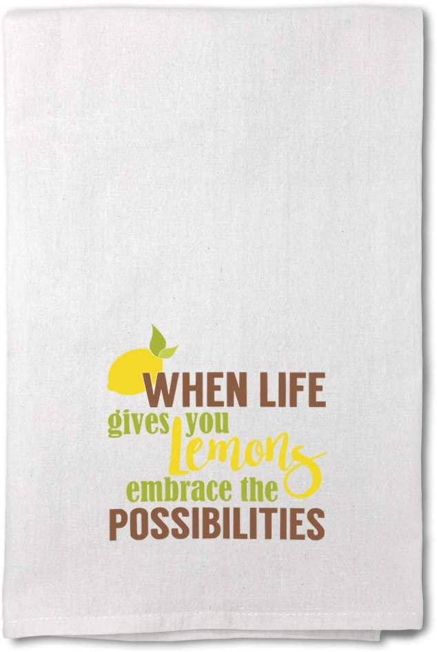 Style In Print Custom Decor Flour Kitchen Towels When Life Gives You Lemons Embrace The Possibilities B Food & Beverage Fruit Cleaning Supplies Dish Towels Design Only