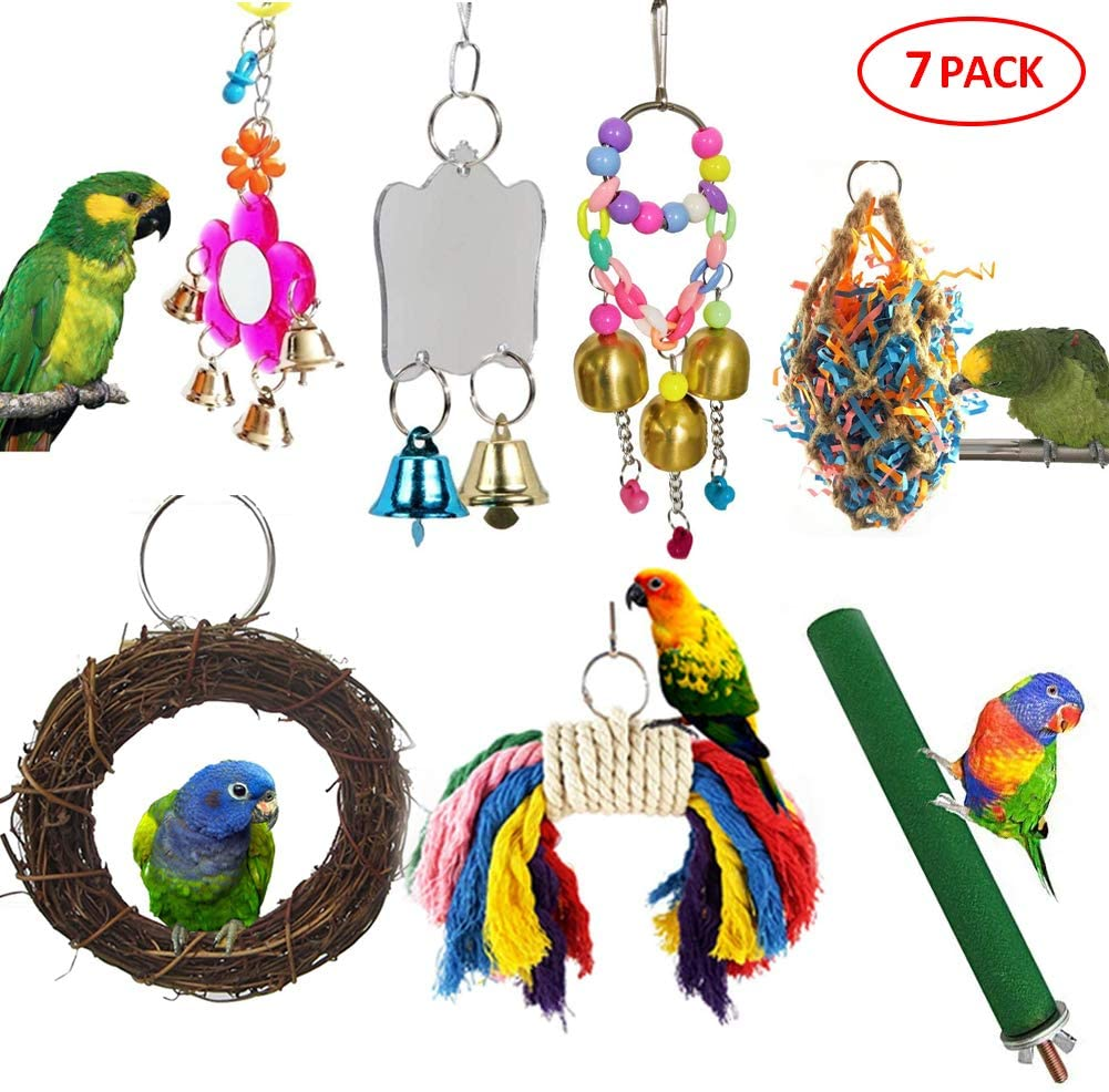 7 Packs Bird Cage Toy Set, Parrot Swing Chew Toy, Mirror Toy, Bell Toy, Perch Stand Stick Paw Grinding Trim Beak Nail Exercise for Parakeet Lovebird Conure Cockatiel Finch