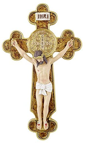 Resin Budded St Benedict Wall Crucifix, 9 1/2 Inch