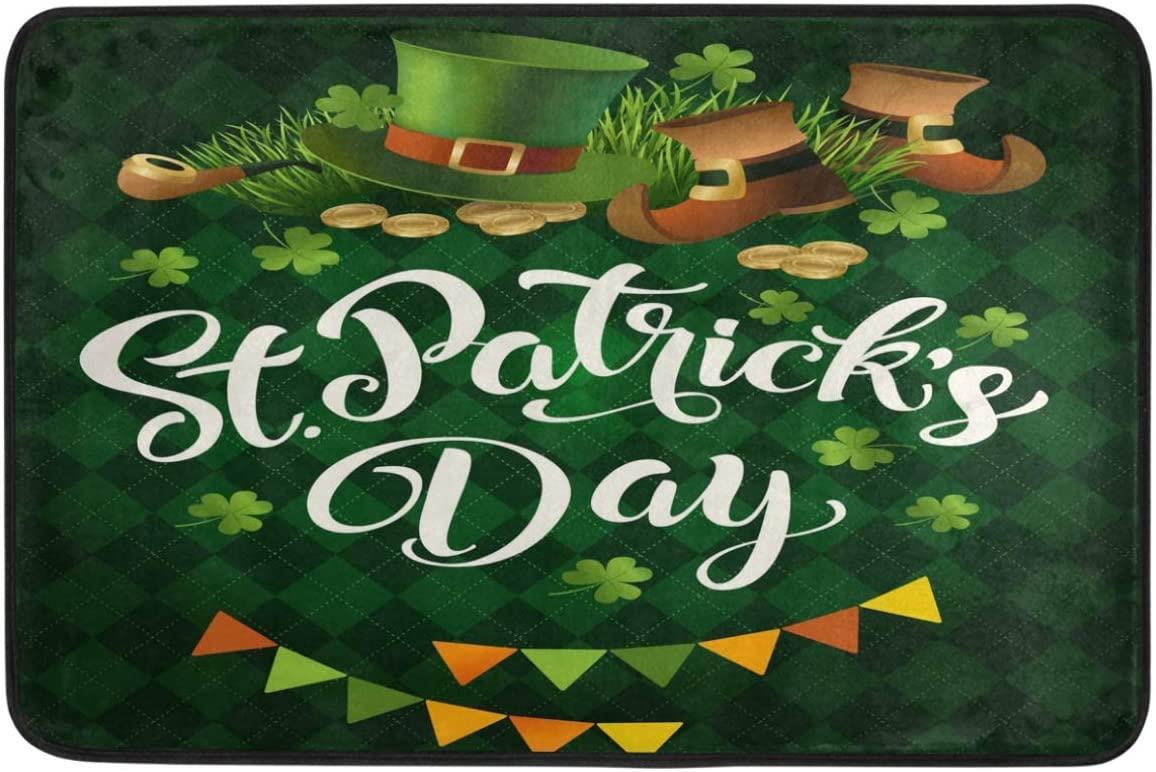 St.Patrick's Day Decoration Doormat Home Decor Leprechaun Top Hat Boot Shamrock Clovers Rainbow Banners Welcome Indoor Outdoor Entrance Bathroom Floor Mats Non Slip Washable Hoilday Pet Food Mat