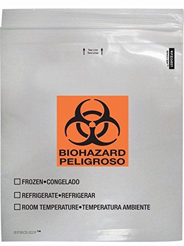 Minigrip Speci-Zip IP2024B3T Reclosable Biohazard Specimen Bag, Clear (Pack of 100)