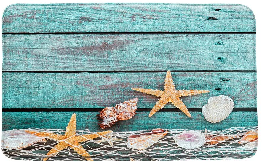 XZMAN Seashell Bath Mat,Starfish Fishing Net on Rustic Turquoise Wooden Board Summer Beach Theme Bathroom Rug Decor,Bedroom Kitchen Toilet Rug,Soft Memory Foam Non Slip Backing,20x31 Inch