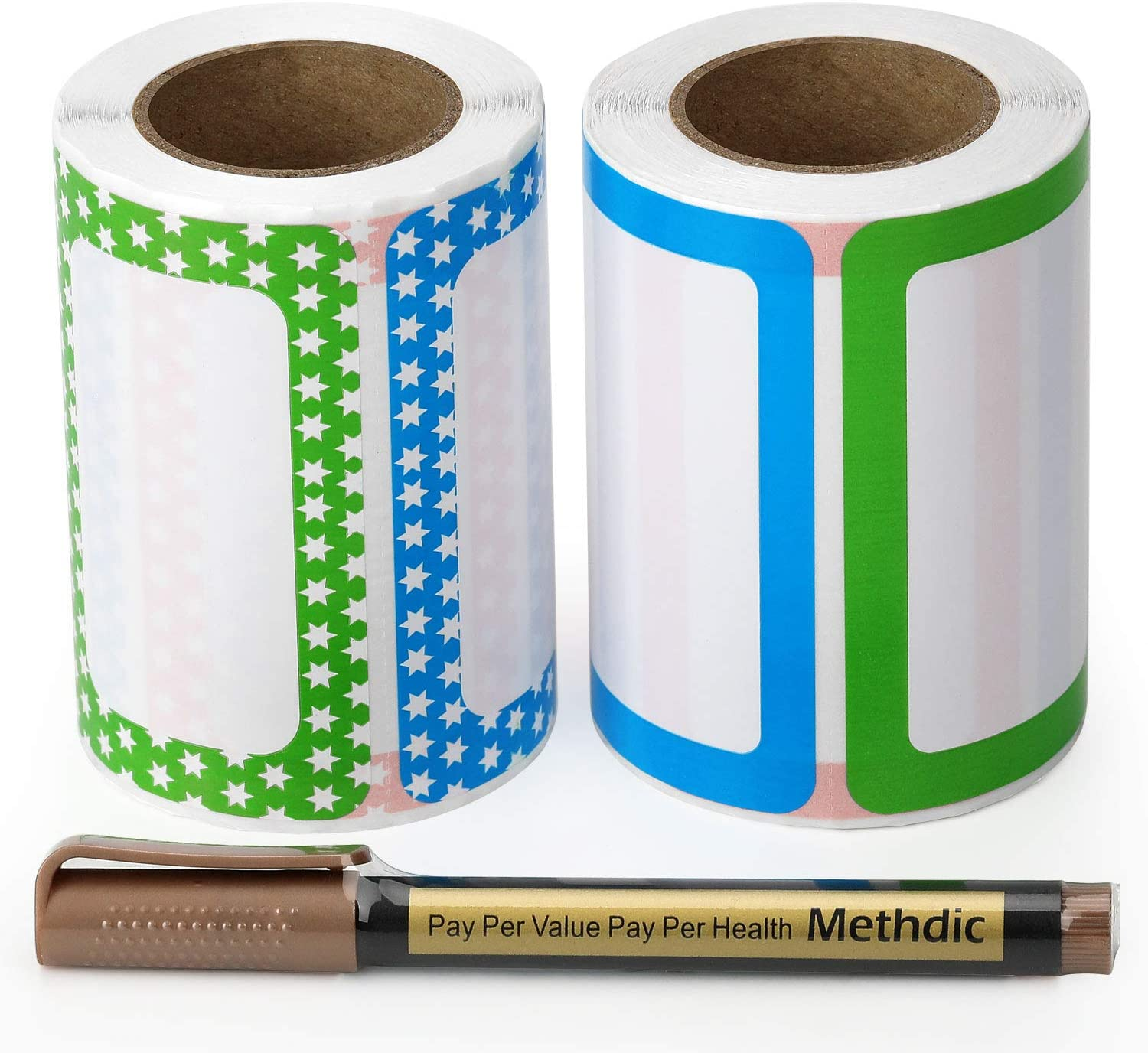 Methdic All Purpose Blank Name Tag Label Stickers 250 per Roll 2 Pack 3.5x2.25 inch