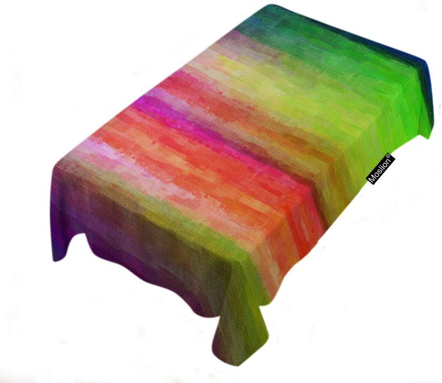Moslion Rainbow Stripes Tablecloth Home Decor Colorful Paint Brush Table Covers Polyester Decorative Rectangular Tablecloths 60x104 Inch