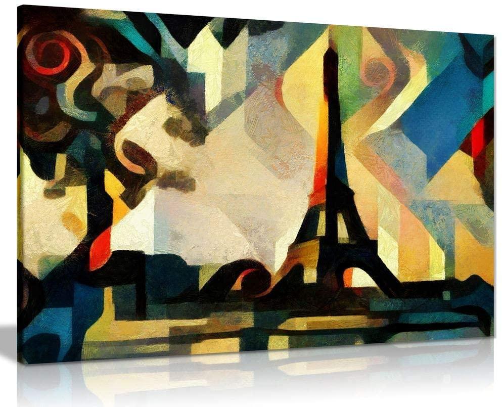 Eiffel Tower Paris Cubism Modern Canvas Wall Art Picture Print (12x8)