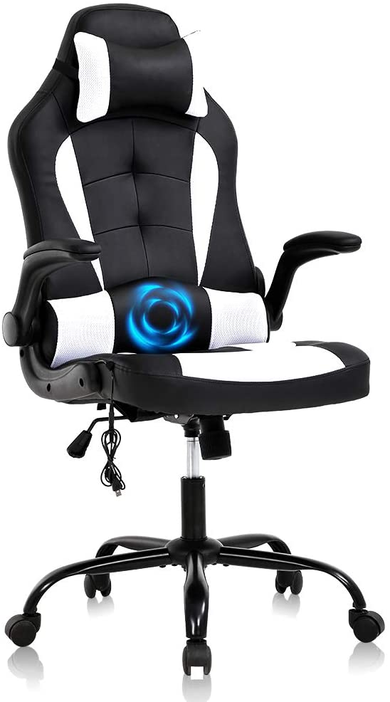Gaming Chair Ergonomic Office Chair Racing Desk Chair Massage PU Leather Executive High Back Computer Chair, Rolling Task Adjustable Swivel Chair,with Lumbar Support Headrest Footrest,White