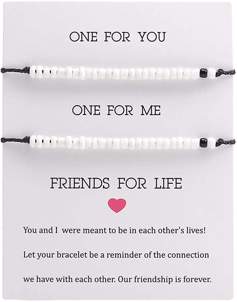 FUTIMELY Hand Knitted Black White Beads Lovers Bracelet Set, Bohemia Simplicity Beaded Best Friend Friendship Greeting Card Bracelet Suit for Women Girls