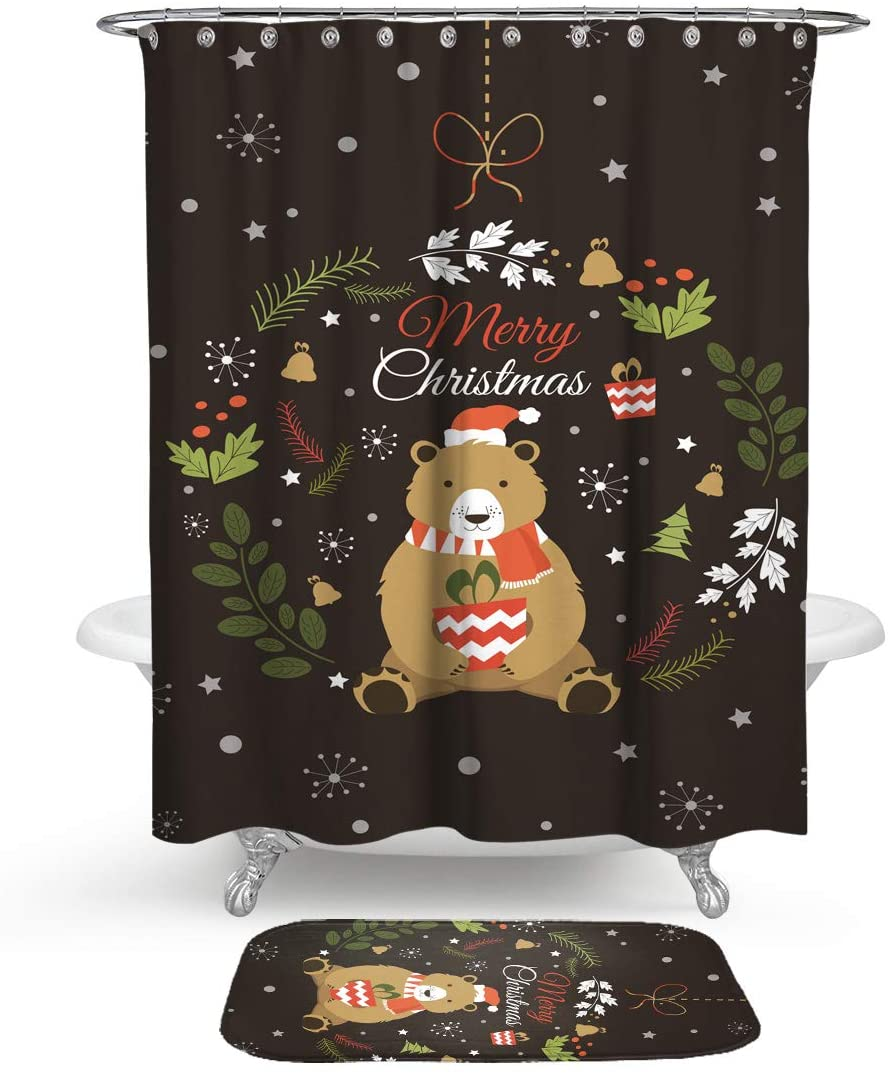 HMWR Christmas Cute Bear Shower Curtain Rug Bathroom Set,Cartoon Xmas Ornaments Floral Leaves Hoop Water Resistant Shower Curtain with Soft Cotton Bath Floor Mat,Set of 2 Machine Washable,Black