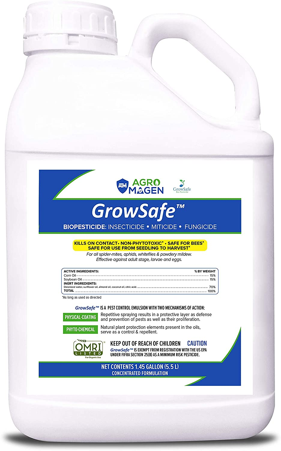AgroMagen (GS420), GrowSafe Bio-Pesticide, Natural Miticide, Fungicide and Insecticide, for Organic Gardening, Non-Toxic, Concentrate (1.45 Gallon)