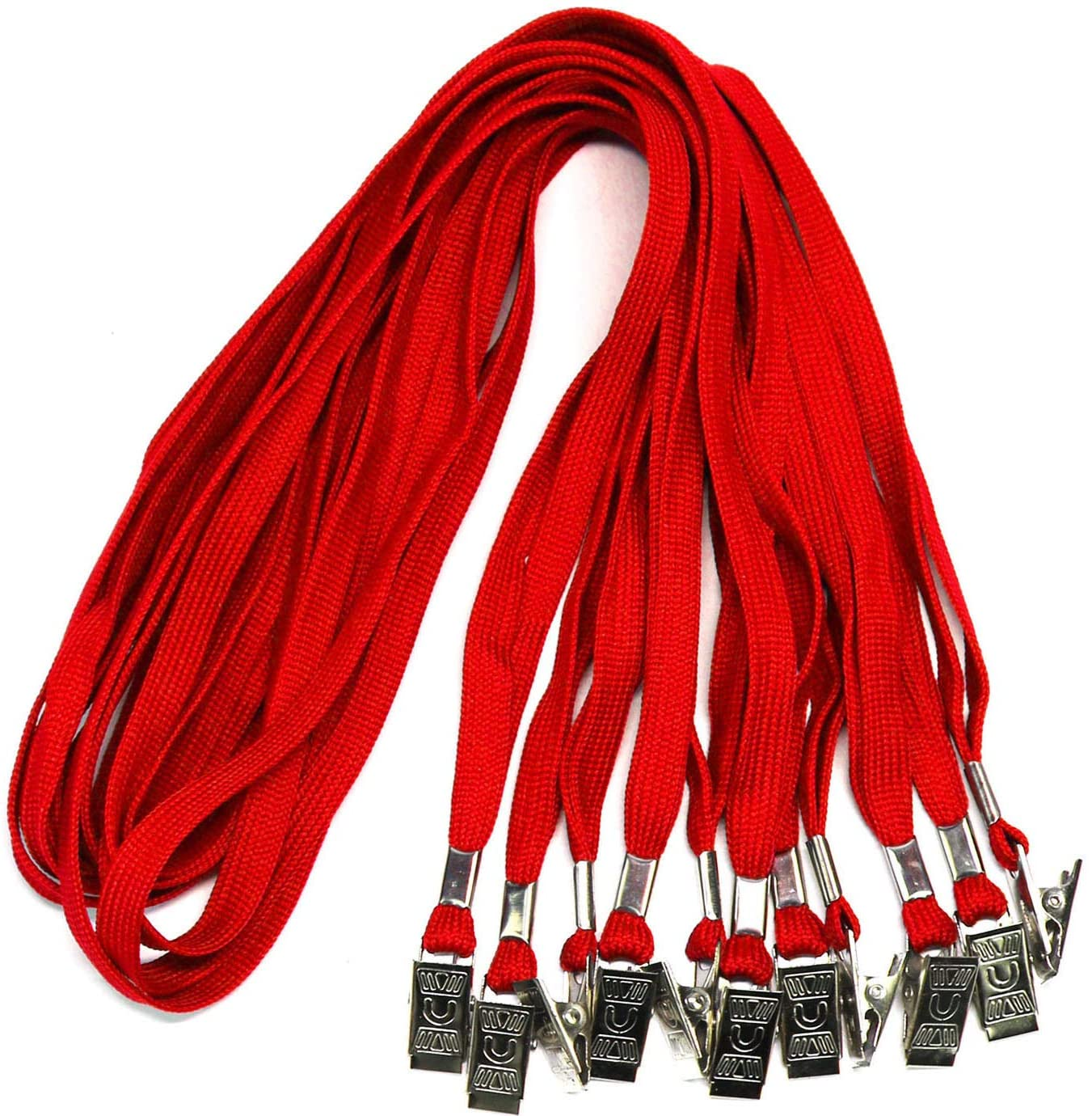 Badge Lanyards Neck Bulk Cruise Lanyards Lanyard with Clip for ID Card Name Tags Badge Holders (Red, 100 Pack)