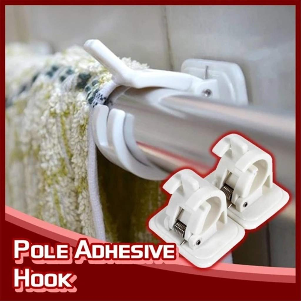 Towel Rack Fixed Clip Type Design 2 Pcs Installed with Rod Hanging Towel Housekeeping Organizers