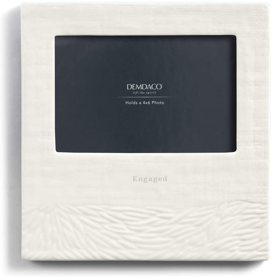 DEMDACO Engaged Glossy White 8 x 8 Ceramic Stoneware Wall Tabletop Picture Frame