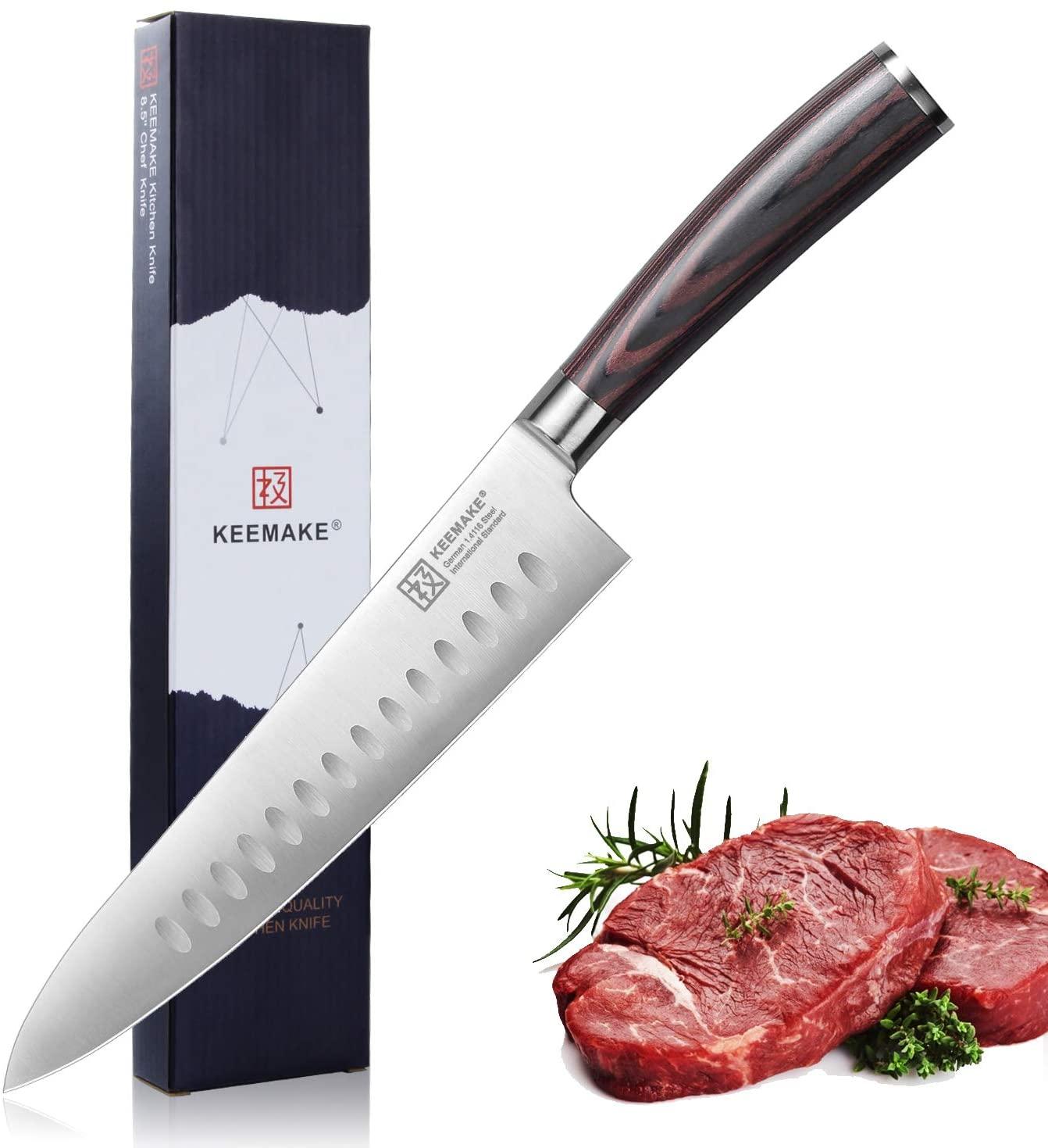 Santoku Knife-8.5 inch Japanese Chef Knife-High Carbon Stainless German Steel 1.4116-Egonomic Pakkawood Handle-All Purpose Extra Large Kitchen Knife-Keemake