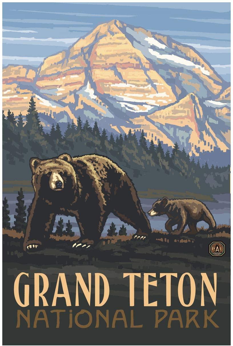 Grand Teton National Park Rockies Grizzly Bears Giclee Art Print Poster from Original Travel Artwork by Artist Paul A. Lanquist 24 x 36