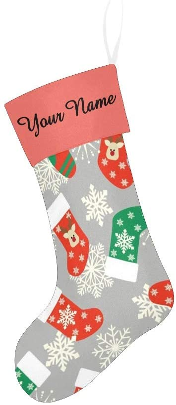 CUXWEOT Christmas Stocking Custom Personalized Name Text Christmas Stockings for Family Xmas Party Decor Gift 17.52 x 7.87 Inch