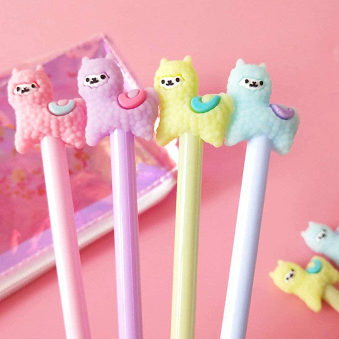 WIN-MARKET Animal Llama Sheep Alpaca Gel Pens Set Fashion Cute Colorful Kawaii Lovely Gel Ball Pens Office School Stationery pen(5PCS)
