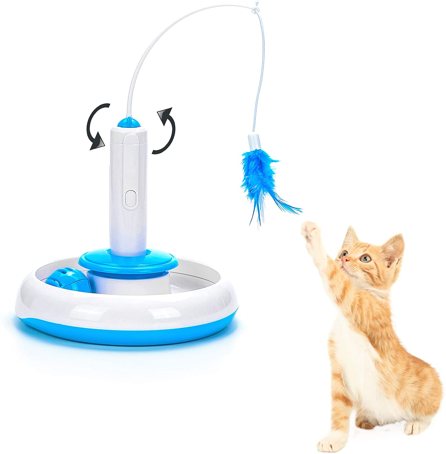 Vealind Electric Interactive Cat Toys for Indoor Cats with 360 Degree Auto Rotating Feather & Ringing Bell Ball House Teaser Toy