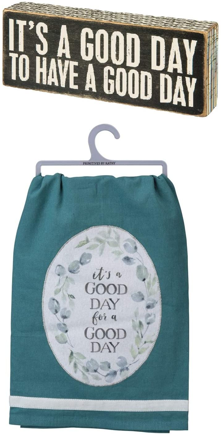 Primitives by Kathy 2 Piece Good Day Expression Decor Bundle: Towel with Sign