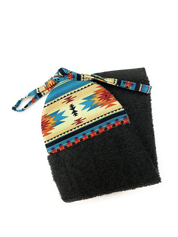 Southwest Black Teal Orange Red on Cream Ties On Stays Put Kitchen Hanging Loop Hand Dish Towel