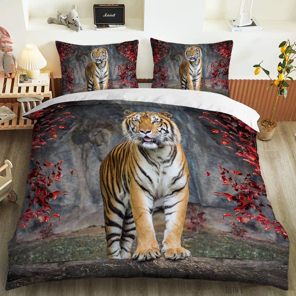 HOSIMA 3D Printing Big cat Bedding Set Full Size Animal Print for Kids Boys Teens Duvet Cover Set 3 Pieces. (BFC18, Twin 70