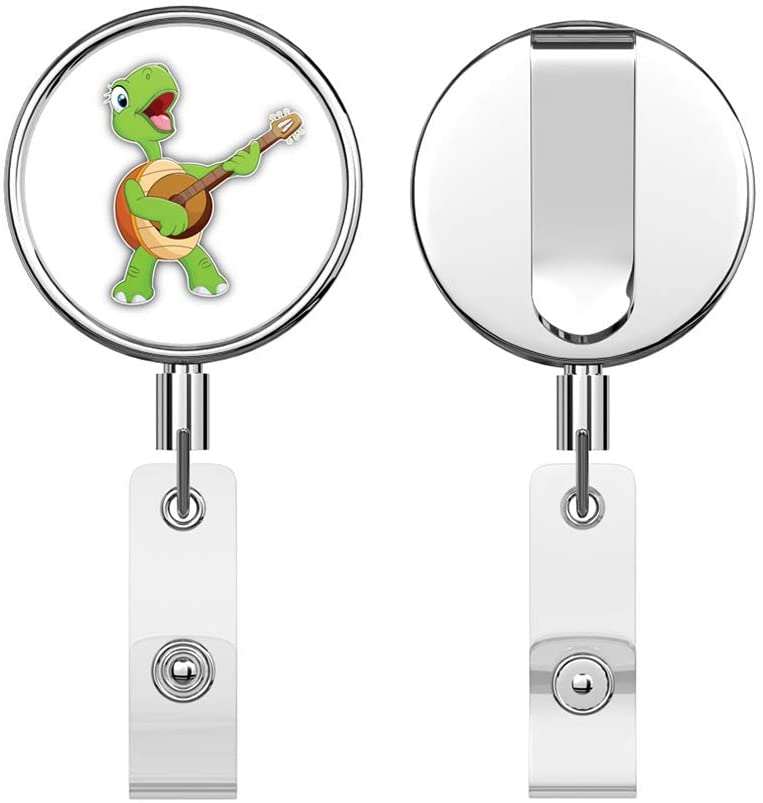 Funny Turtle Guitarist Round ID Badge Key Card Tag Holder Badge Retractable Reel Badge Holder with Belt Clip
