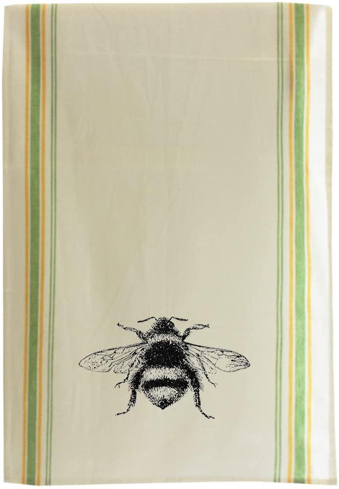 Bumblebee Vintage Look Cotton Retro Stripe Dish Kitchen Towel Green Stripe