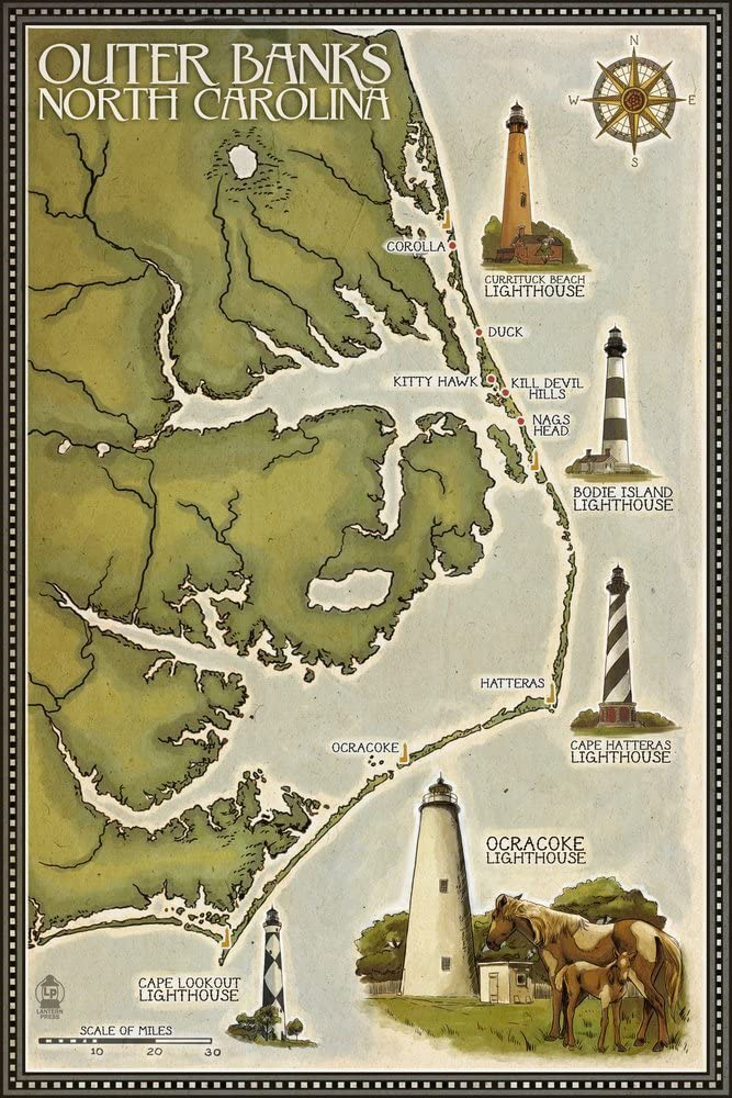Outer Banks, North Carolina - Lighthouse and Town Map (12x18 Art Print, Wall Decor Travel Poster)