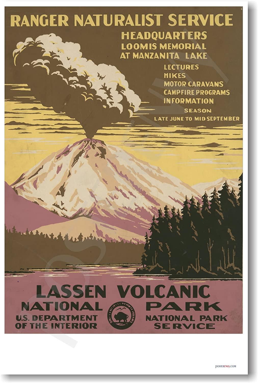 Lassen Volcanic National Park, Vintage Poster Reproduction