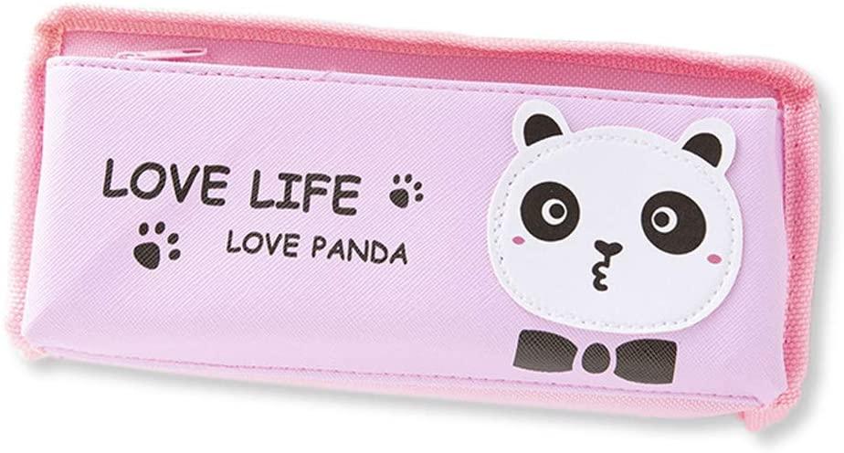 Funny live Cartoon Panda Pencil Case, Double Zipper Pockets Big Capacity Pencil Case Holder Canvas Bag Pen Organizer Pouch Stationery Storage (Pink)