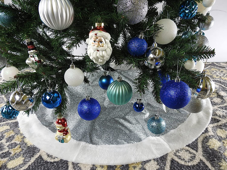 39.4 Silver Glitter Fabric Christmas Tree Skirt - Silver