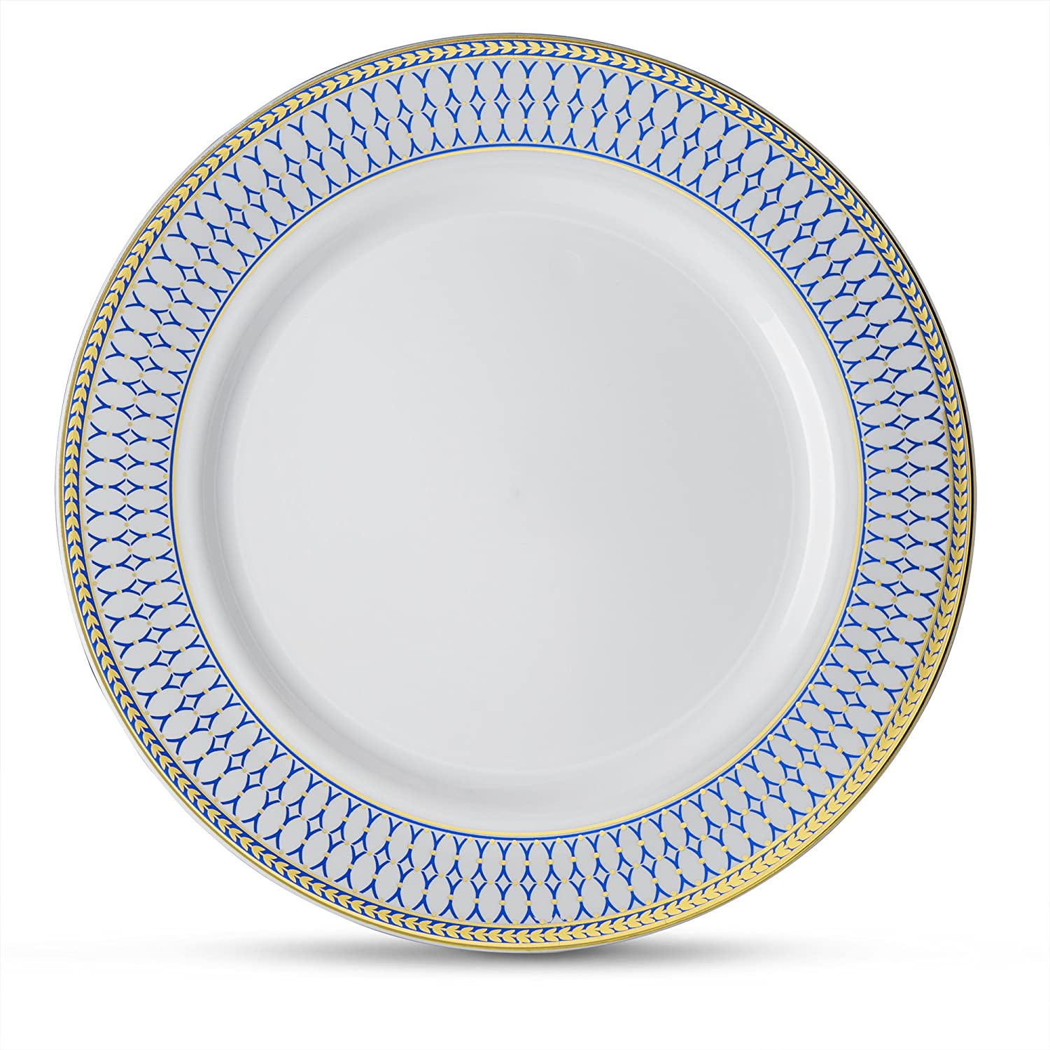 [10 Count - 9 Plates] Laura Stein Designer Tableware Premium Heavyweight Plastic White Lunch Plate With Blue & Gold Border Plastic Party & Wedding Plate Midnight Blue Series Disposable Dishes