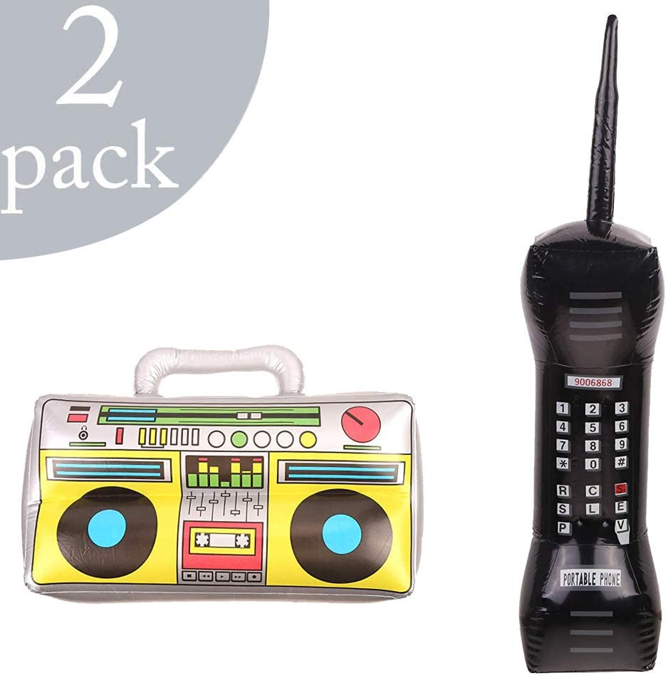 FINGOOO 2 pack Inflatable Radio Boombox and Inflatable Retro Mobile Phone for 80s 90s Party Decorations