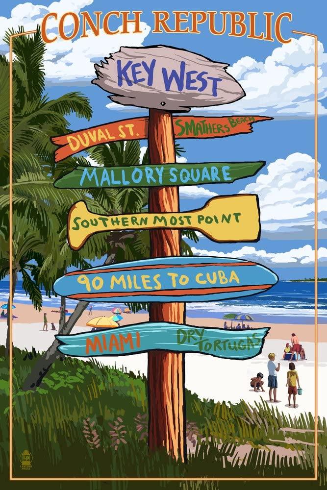 Key West, Florida - Conch Republic - Destinations Sign (9x12 Art Print, Wall Decor Travel Poster)