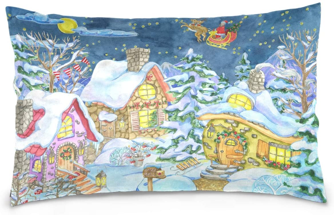 Kaariok Village Christmas Santa Tree Snowy House Cotton Pillowcase Standard Size Double Printed Soft Pillow Case Cover Protector with Zipper Home 20 X 26 Inches