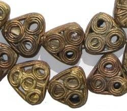 TheBeadChest Brass Filigree Triangle Beads 20mm Ghana African Large Hole 26 Inch Strand Handmade