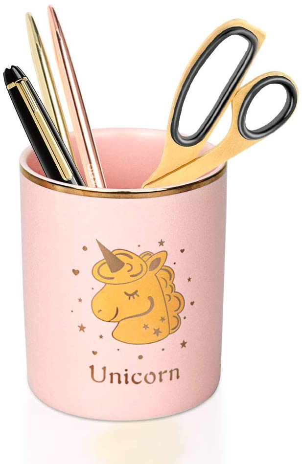 Trycooling Pen Holder Cup Pink Pencil Holder for Desk Ceramic Unicorn/Cactus/Flamingo Pattern Makeup Brush Holder for Girls Women Desk Accessories Organizer for Office, Classroom, Home (Unicorn)
