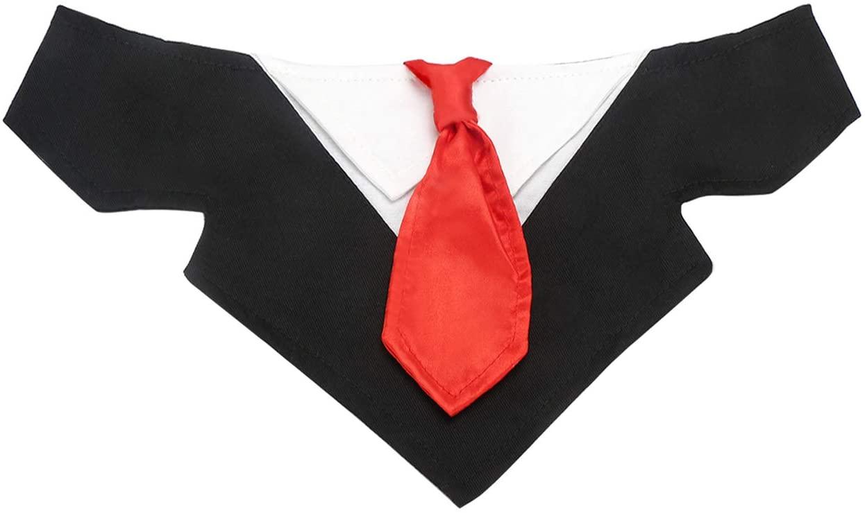 Segarty Dog Bandana Boy, Formal Red Neck Bow Tie Black Tuxedo Scarf for Puppy Small Medium Large Dogs, Gentlemen Style Dog Costume